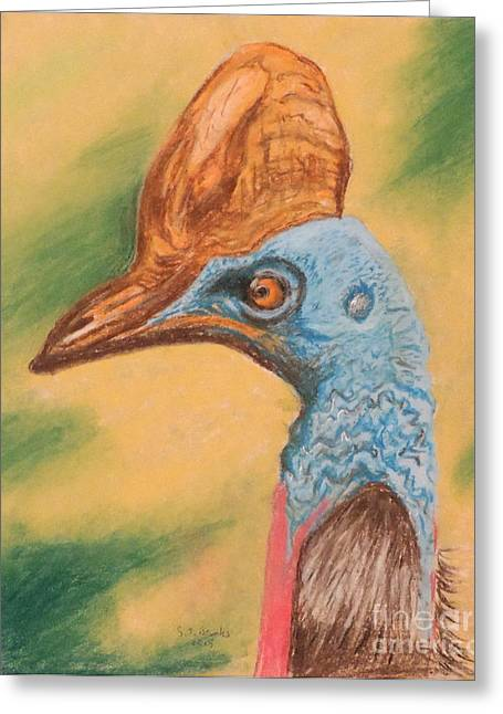 Stones Pastels Greeting Cards - A cassowary stoned out of its mind Greeting Card by Stephen Brooks