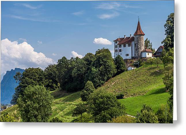 Swiss Photographs Greeting Cards - A Castle in the Alps Greeting Card by W Chris Fooshee