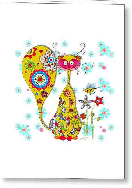 Cat Drawings Greeting Cards - A Cat and a little bee Greeting Card by Isabel Salvador