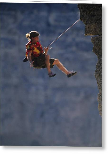 Adrenalin Greeting Cards - A Caucasian Man Falling While Rock Greeting Card by Bobby Model