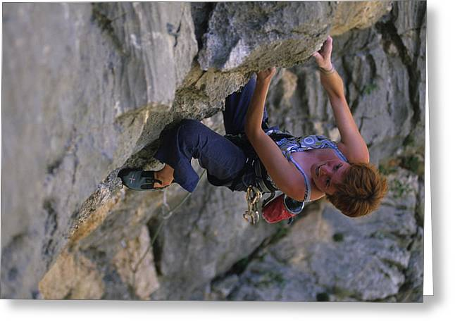 Overhang Greeting Cards - A Caucasian Woman Rock Climbing Greeting Card by Bobby Model