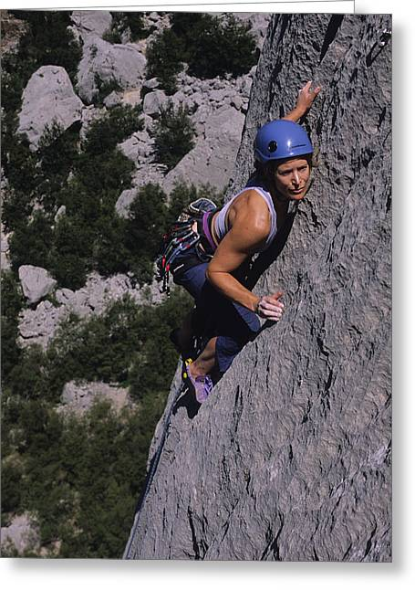 Mid Adult Women Greeting Cards - A Caucasian Women Rock Climbing Greeting Card by Bobby Model