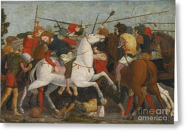 Attributes Greeting Cards - A Cavalry Skirmish Greeting Card by Attributed to Francesco Morone