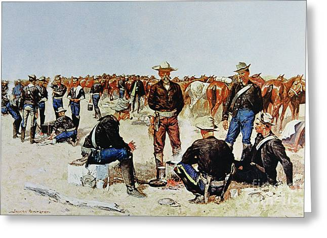 A Cavalryman's Breakfast On The Plains Greeting Card by Frederic Remington