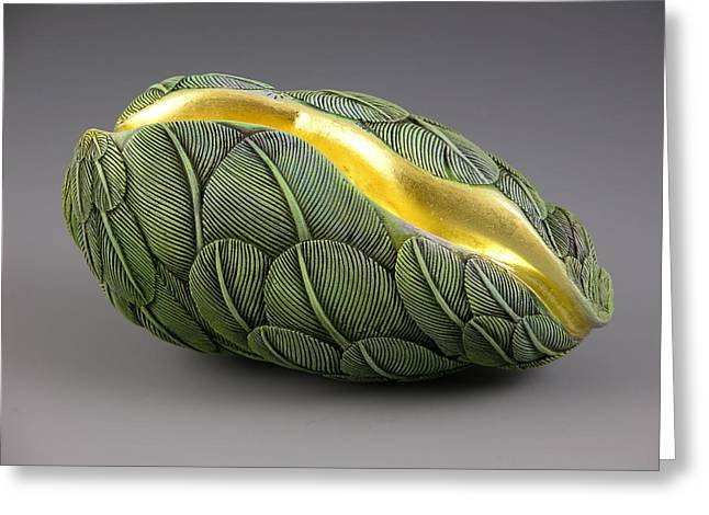 Feathers Sculptures Greeting Cards - A Celadon Sky Dream Greeting Card by Jacques Vesery