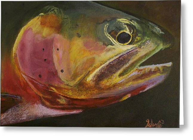 Trout Canvas Greeting Cards - A Certain Cutthroat Greeting Card by Bill Werle
