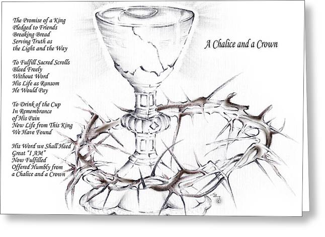 Saint Hope Mixed Media Greeting Cards - A Chalice and a Crown Greeting Card by Stephen Bozik