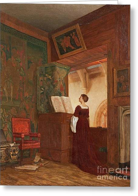 A Chapel Interior With An Elegant Lady Playing Greeting Card by Ellen Clacy