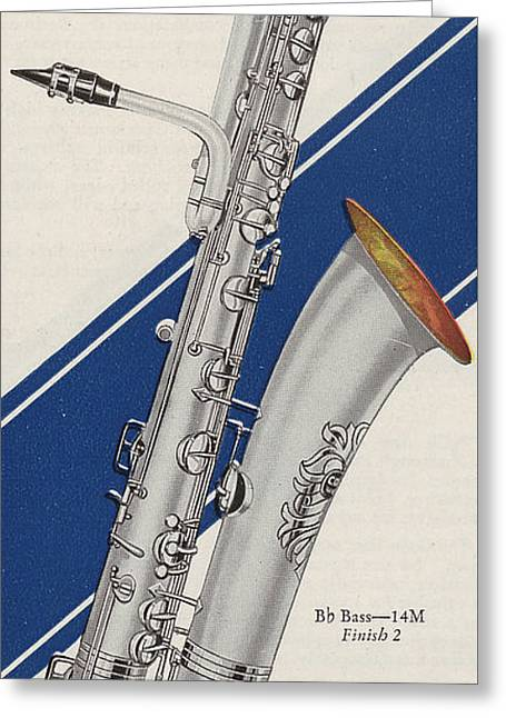 Silver Posters Greeting Cards - A Charles Gerard Conn Bb Bass Greeting Card by American School