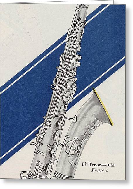 Silver Posters Greeting Cards - A Charles Gerard Conn Bb Tenor Greeting Card by American School