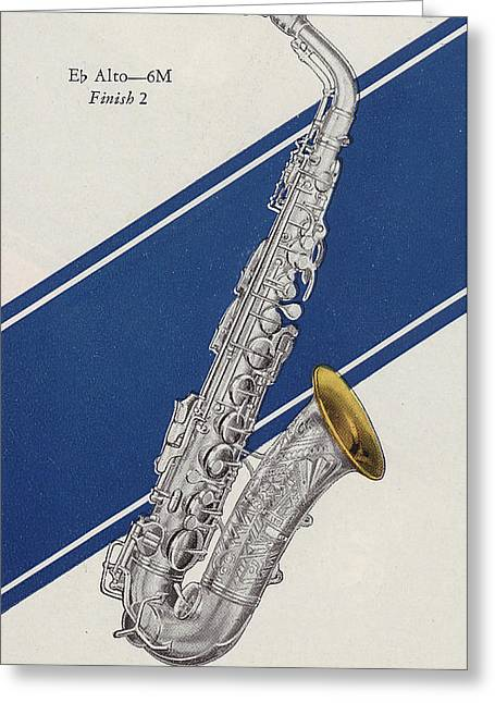 A Charles Gerard Conn Eb Alto Saxophone Greeting Card by American School