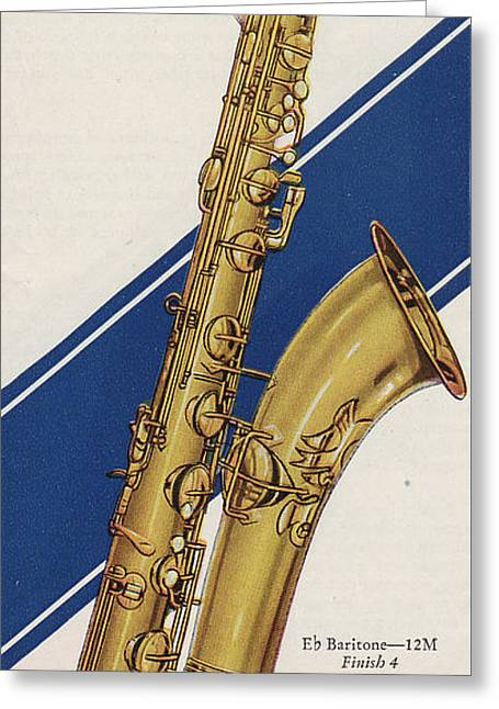 Saxophonists Greeting Cards - A Charles Gerard Conn Eb Baritone  Greeting Card by American School