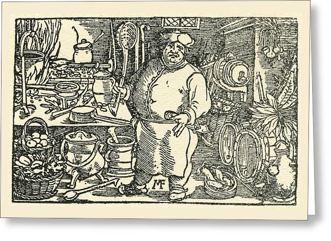 Period Drawings Greeting Cards - A Chef From The Tudor Period Greeting Card by Ken Welsh