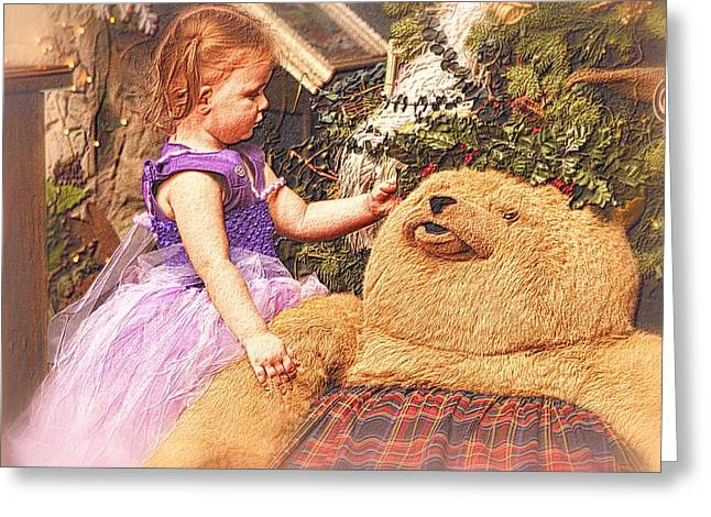 Child With Teddy Bear Greeting Cards - A Childs Christmas Greeting Card by Nadalyn Larsen