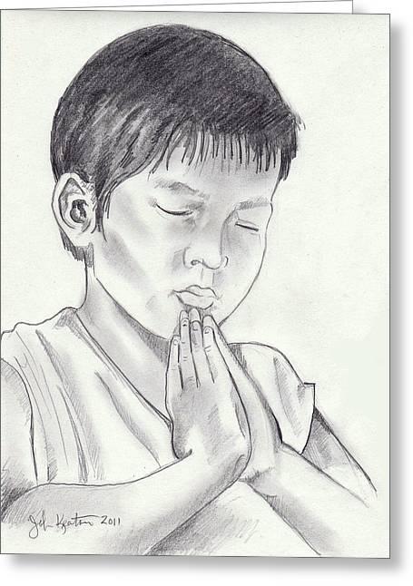 A Child's Prayer Greeting Card by John Keaton