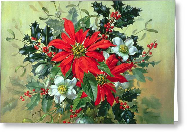 Flower Still Life Greeting Cards - A Christmas arrangement with holly mistletoe and other winter flowers Greeting Card by Albert Williams