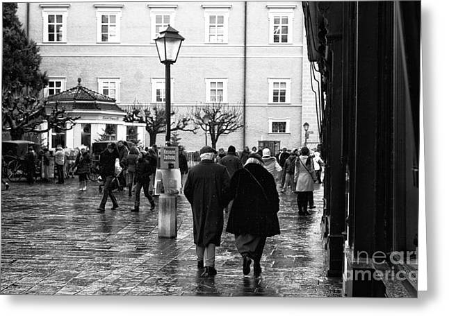 Salzburg Greeting Cards - A Christmas Walk Greeting Card by John Rizzuto