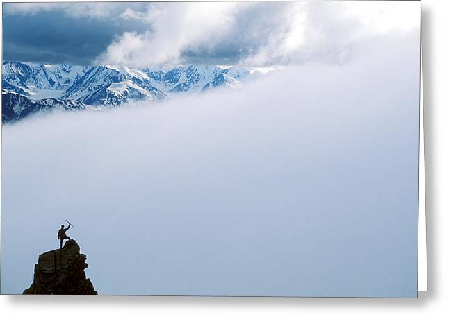 Raised Image Greeting Cards - A Climber On The Summit In Denali Greeting Card by John Burcham