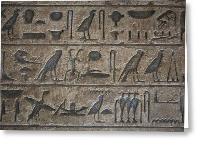 Egyptian Culture Greeting Cards - A Close View Of Hieroglyphics Greeting Card by Taylor S. Kennedy
