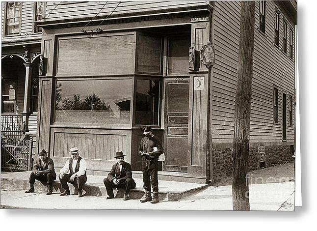 A Coal Miners Bar  George Ave Parsons Pennsylvania Early 1900s Greeting Card by Arthur Miller