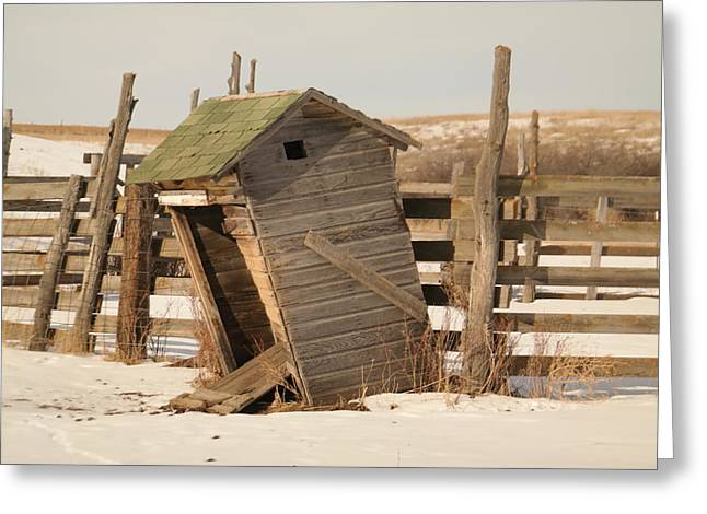 Old Relics Greeting Cards - A cold leaning outhouse Greeting Card by Jeff  Swan