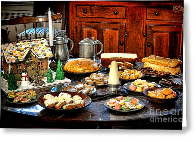 Historic Home Greeting Cards - A Colonial Feast Greeting Card by Olivier Le Queinec