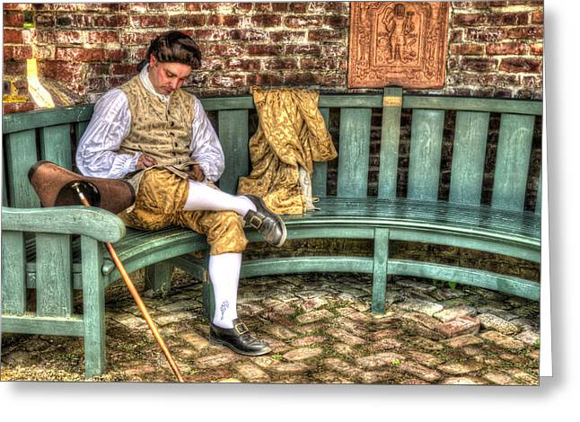 Colonial Man Digital Greeting Cards - A Colonial Gentleman At Rest Greeting Card by Robert Nelson