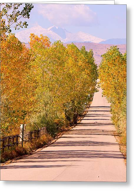 Autumn Prints Greeting Cards - A Colorful Country Road Rocky Mountain Autumn View  Greeting Card by James BO  Insogna