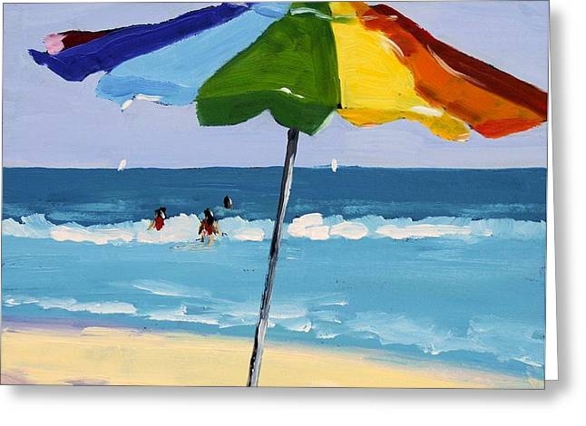 Umbrella Greeting Cards - A Colorful Spot Greeting Card by Debbie Miller