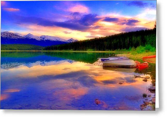 Snow Capped Greeting Cards - A  Colourful Evening at Lake Patricia Greeting Card by Tara Turner