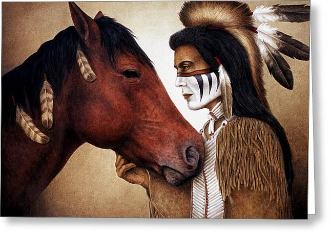 Equine Greeting Cards - A Conversation Greeting Card by Pat Erickson