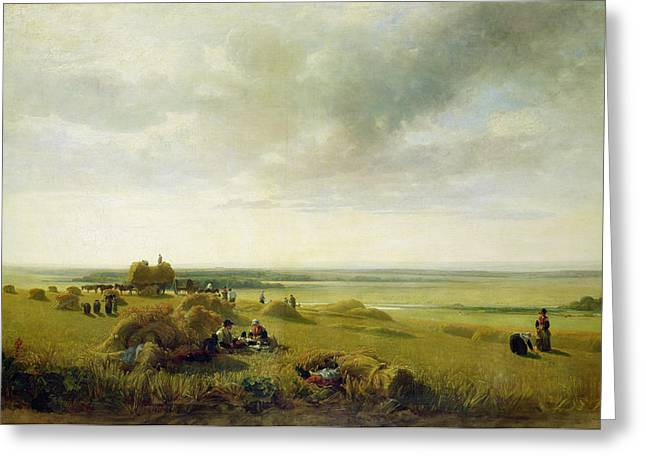 Cart Greeting Cards - A Corn Field Greeting Card by Peter de Wint
