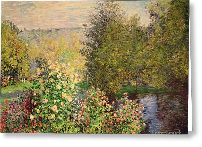 Reflection On Pond Greeting Cards - A Corner of the Garden at Montgeron Greeting Card by Claude Monet