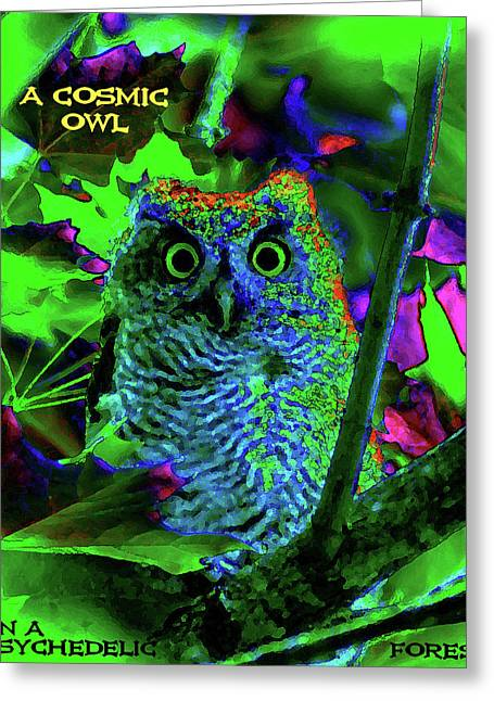 Psychedelic Owl Greeting Cards - A Cosmic Owl in a Psychedelic Forest Greeting Card by Ben Upham