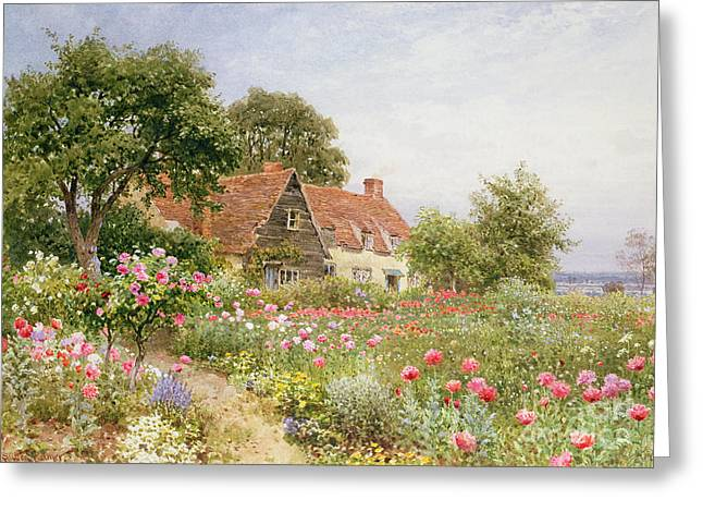 Rustic House Greeting Cards - A Cottage Garden Greeting Card by Henry Sutton Palmer