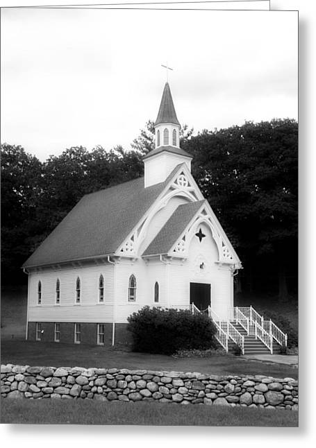A Country Church In Connecticut Bw Greeting Card by Mountain Dreams