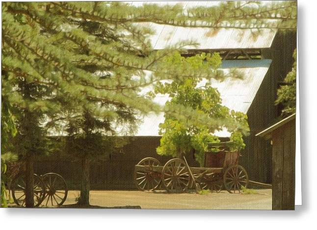 Outbuildings Greeting Cards - A Country Setting Greeting Card by Kathy Franklin