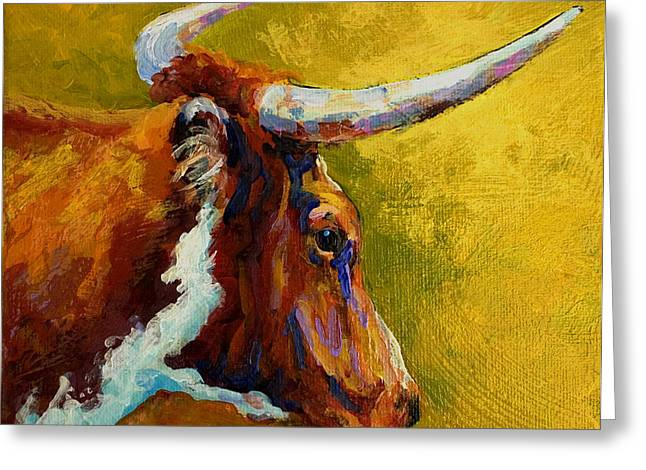 Cow Paintings Greeting Cards - A Couple Of Pointers - Longhorn Steer Greeting Card by Marion Rose