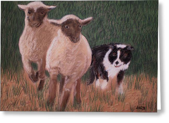 Border Pastels Greeting Cards - A Couple of Strays Greeting Card by Jan Amiss