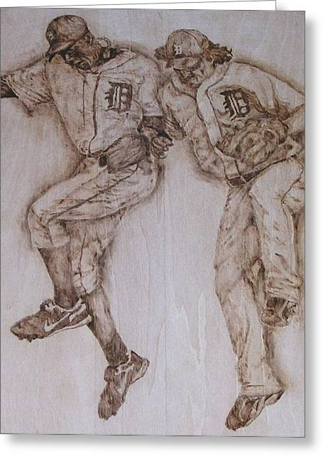 Baseball Pyrography Greeting Cards - A couple of Tigers Greeting Card by Dan LaTour