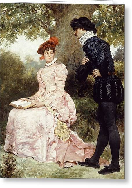 Sit-ins Greeting Cards - A Courting Couple  Greeting Card by Jules Arsene Garnier