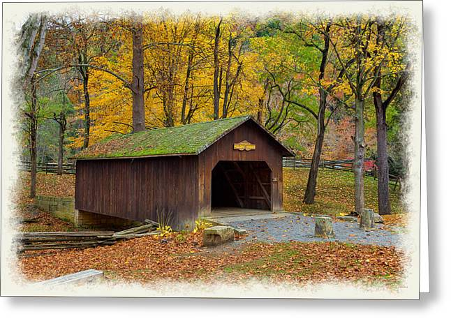 Fishing Creek Greeting Cards - A Covered Bridge Greeting Card by John Bailey