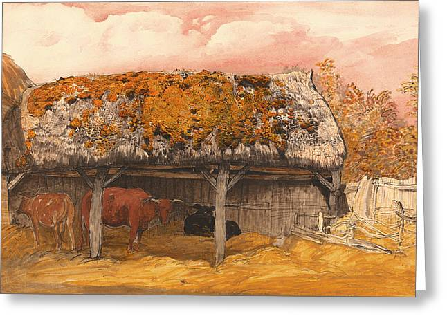 Cattle-shed Greeting Cards - A Cow With A Mossy Roof Greeting Card by Samuel Painter