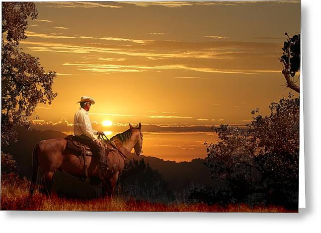 A Cowboy Riding On His Horse Into A Yellow Sunset. Greeting Card by Peter Nowell