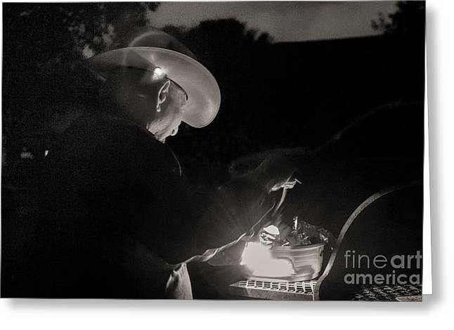 Sherry Davis Greeting Cards - A Cowboys Dinner Greeting Card by Sherry Davis