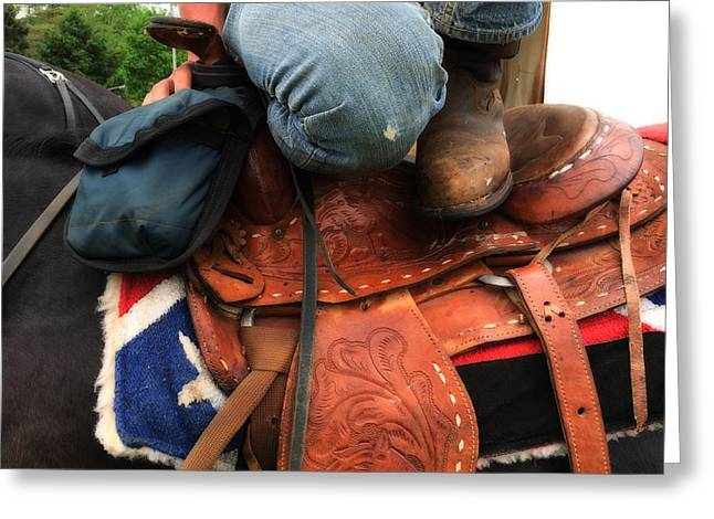 A Cowboy's Saddle  Greeting Card by Steven  Digman