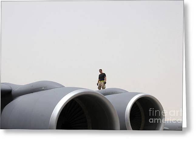 Aircraft Engine Greeting Cards - A Crew Chief Walks The Wing Of A Kc-135 Greeting Card by Stocktrek Images