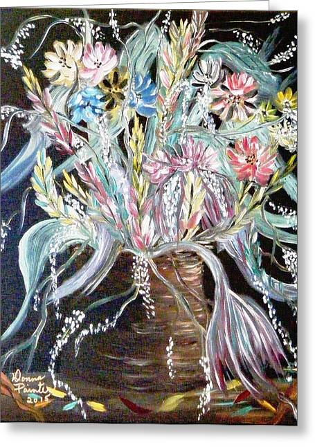 Old Crocks Greeting Cards - A Crock of Fantasy Flowers Greeting Card by Donna Painter