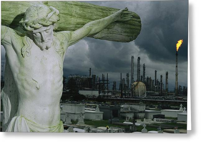 A Crucifixion Statue In A Cemetery Greeting Card by Joel Sartore