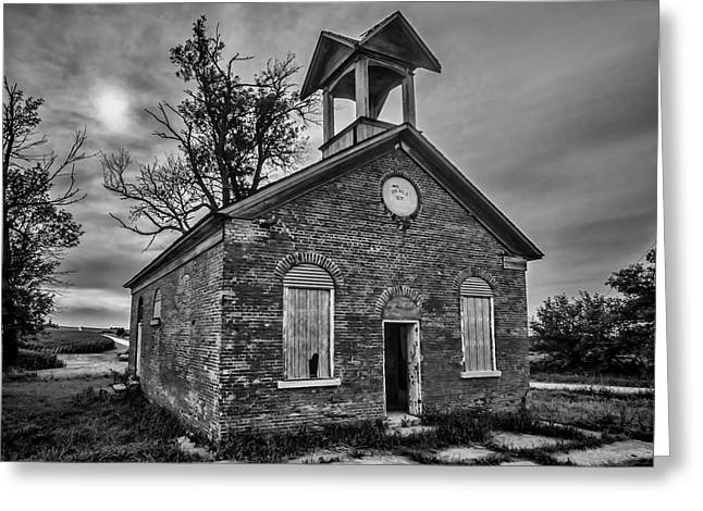 Cornfield Greeting Cards - A crumbling one room school house amongst the cornfields Greeting Card by Sven Brogren